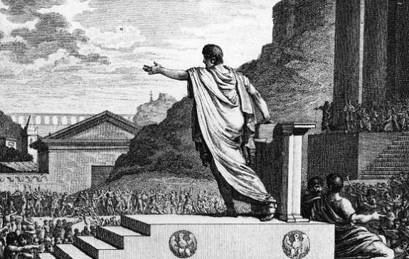 Tiberius Gracchus delivering a speech