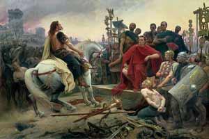 Vercingetorix surrenders to Caesar
